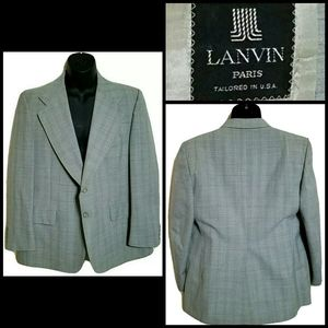 VTG Lanvin Paris Plaid Wool Blazer Jacket Sz 44R
